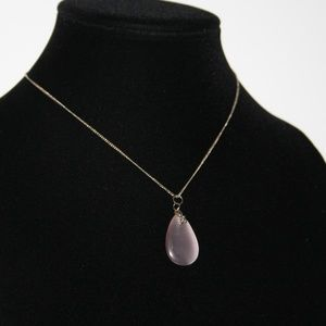 Vintage silver and pink cats eye stone necklace